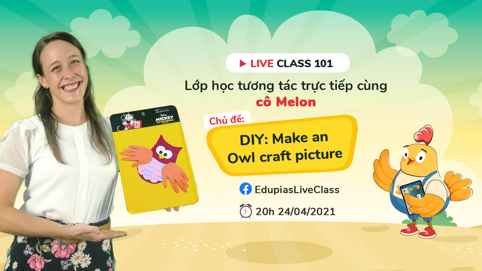 Live class tuần 101 - Chủ đề: DIY: Make an Owl craft picture